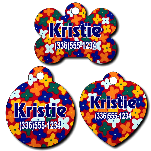 Personalized Colorful Flowers Pet Tag for Dogs and Cats