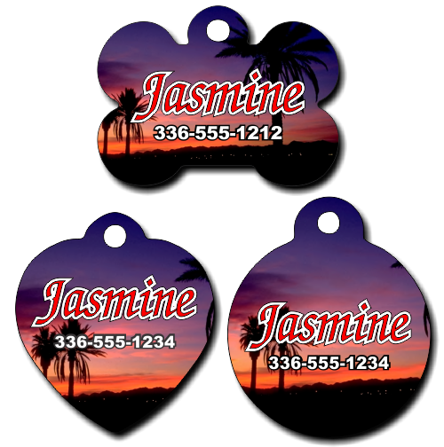 Personalized Beach Sunset Pet Tag for Dogs and Cats