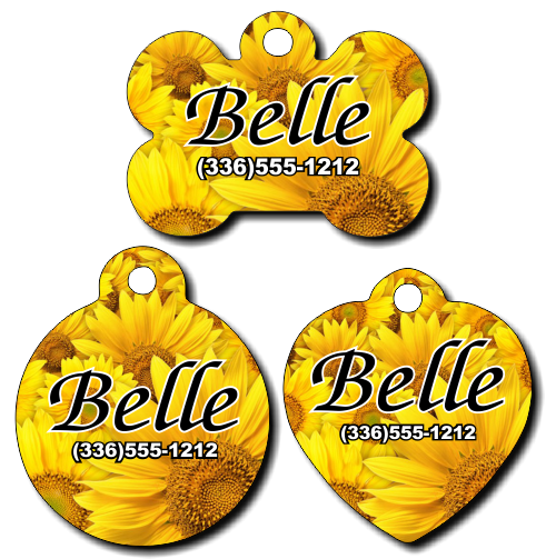 Personalized Sunflower Pet Tag for Dogs and Cats