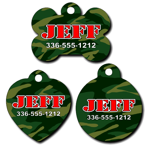 Personalized Camouflage Background Pet Tag for Dogs and Cats