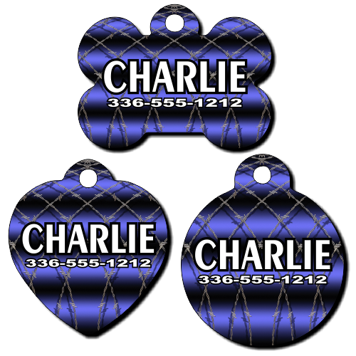 Personalized Barbwire Background Pet Tag for Dogs and Cats