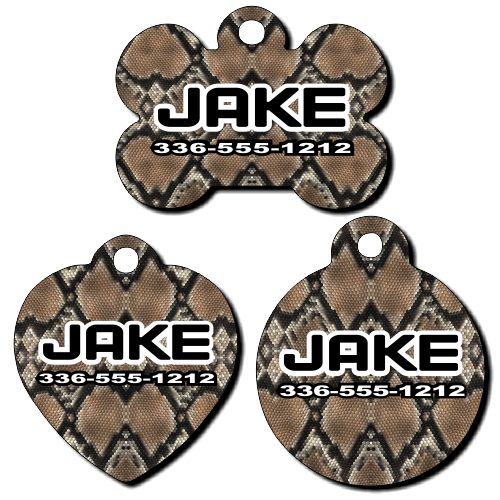 Personalized Snake Skin Background Pet Tag for Dogs and Cats