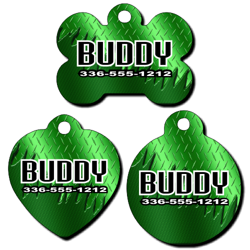 Personalized Green Metal Background Pet Tag for Dogs and Cats