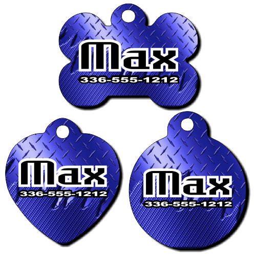 Personalized Blue Metal Background Pet Tag for Dogs and Cats
