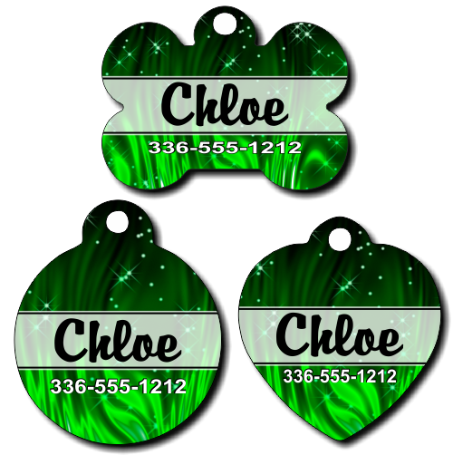 Personalized Green Sparkles Pet Tag for Dogs and Cats