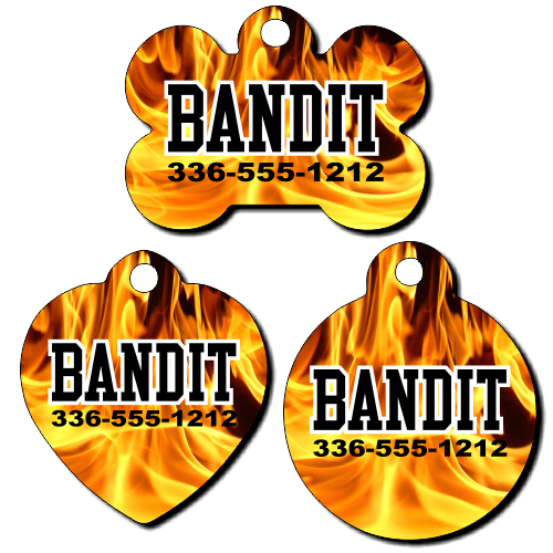 Personalized Fire Background Pet Tag for Dogs and Cats