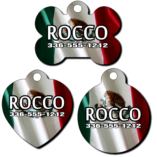 Personalized Mexico Flag Background Pet Tag for Dogs and Cats