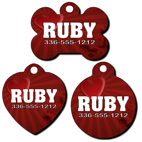 Personalized Red Heart Sunburst Background Pet Tag for Dogs and Cats