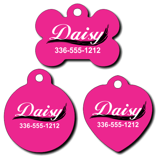 Personalized Black Swoosh Pet Tag for Dogs and Cats