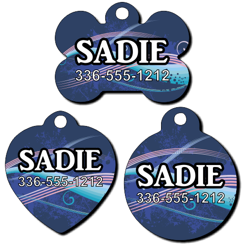Personalized Blue and Pink Line Background Pet Tag for Dogs and Cats