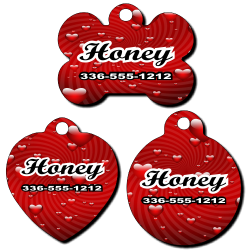 Personalized Red Hearts Background Pet Tag for Dogs and Cats