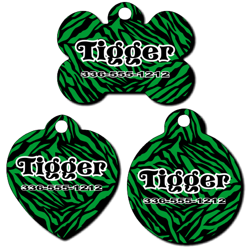 Personalized Green Zebra Background Pet Tag for Dogs and Cats