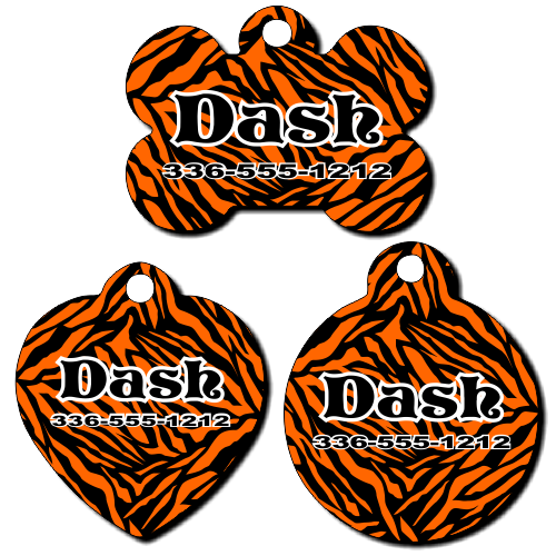 Personalized Orange Zebra Background Pet Tag for Dogs and Cats
