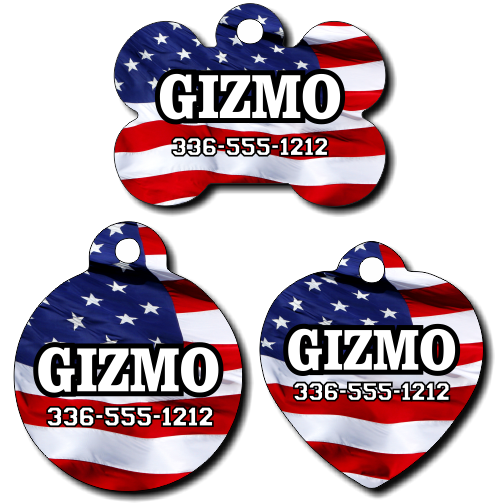 Personalized American Flag Pet Tag for Dogs and Cats