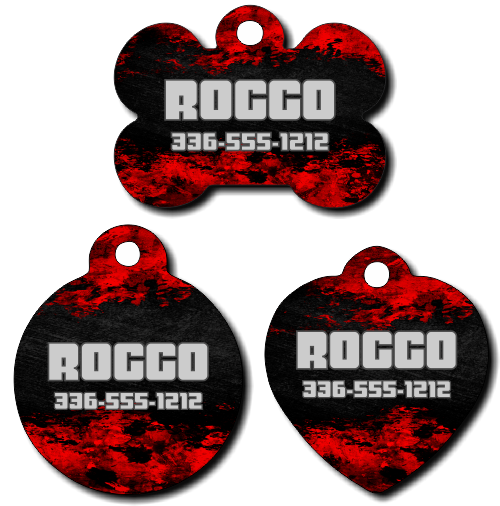 Personalized Red and Navy Distressed Pet Tag for Dogs and Cats