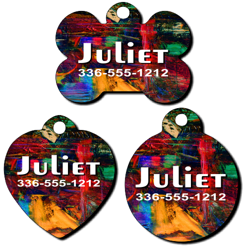 Personalized Abstract Painting Background Pet Tag for Dogs and Cats