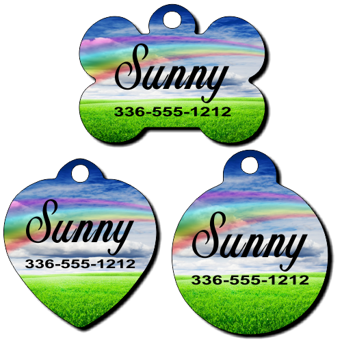 Personalized Rainbow Background Pet Tag for Dogs and Cats