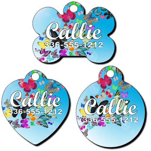 Personalized Butterflies Background Pet Tag for Dogs and Cats