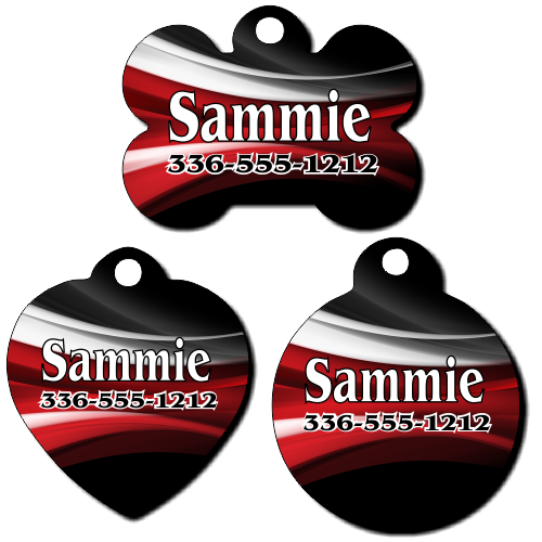 Personalized Red, White and Black Swirl Background Pet Tag for Dogs and Cats