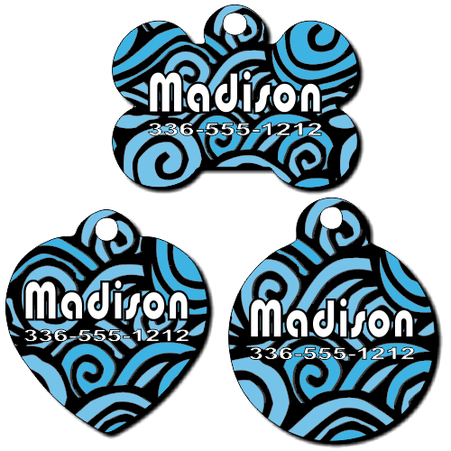 Personalized Blue Swirls Background Pet Tag for Dogs and Cats