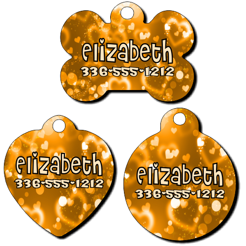 Personalized Gold Hearts Background Pet Tag for Dogs and Cats