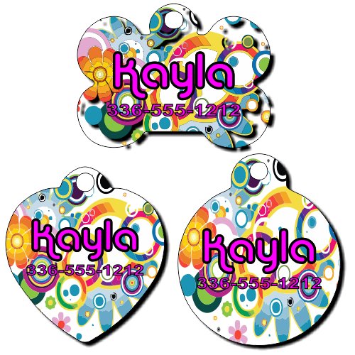Personalized Psychedelic Background Pet Tag for Dogs and Cats