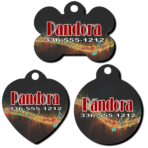 Personalized Musical Notes Background Pet Tag for Dogs and Cats