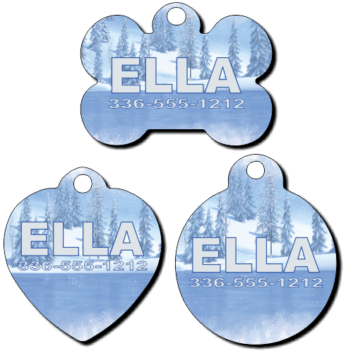 Personalized Frozen Ice Background Pet Tag for Dogs and Cats