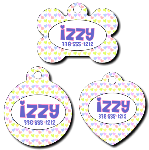 Personalized Pastel Hearts Background Pet Tag for Dogs and Cats