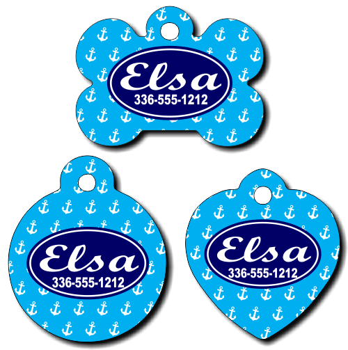 Personalized Blue Anchor Background Pet Tag for Dogs and Cats