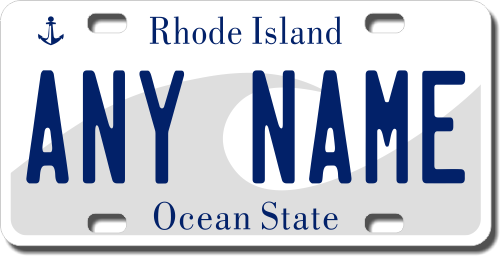 Personalized rhode island license plate for bicycles kids bikes carts cars or trucks
