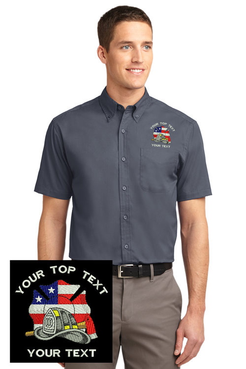 Custom Embroidered Firefighter Logo Short Sleeve Twill Shirt