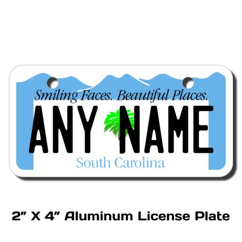 Personalized South Carolina 2 X 4 License Plate