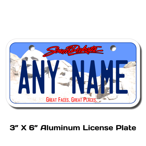 Personalized South Dakota 3 X 6 License Plate
