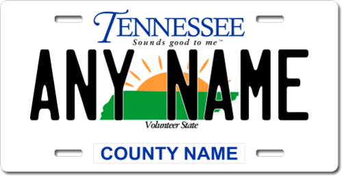 Personalized Tennessee License Plate for Bicycles, Kid's Bikes, Carts, Cars or Trucks