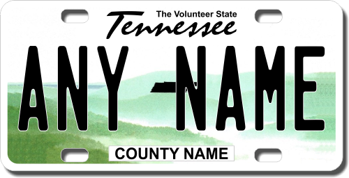 Personalized Tennessee License Plate for Bicycles, Kid's Bikes, Carts, Cars or Trucks Version 2