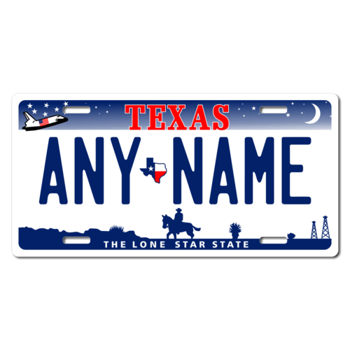 Personalized Texas License Plate for Bicycles, Kid's Bikes, Carts, Cars or Trucks Version 3