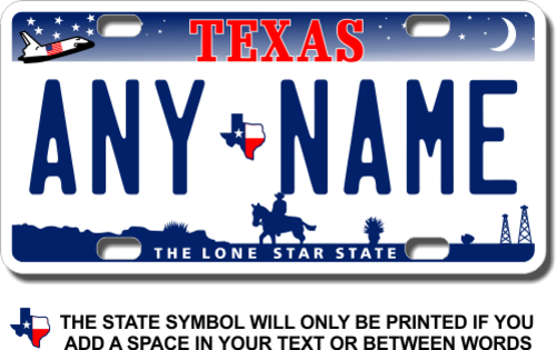 "TEXAS custom novelty bicycle mini license plate your name or text 3/""x6/"""