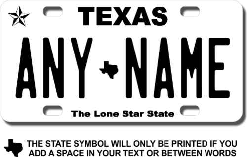Personalized Texas License Plate for Bicycles, Kid's Bikes, Carts, Cars or Trucks Version 4