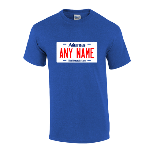 Personalized Arkansas License Plate T-shirt Adult and Youth Sizes Version 1