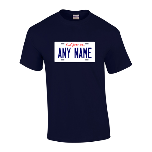 Personalized California License Plate T-shirt Adult and Youth Sizes Version 1
