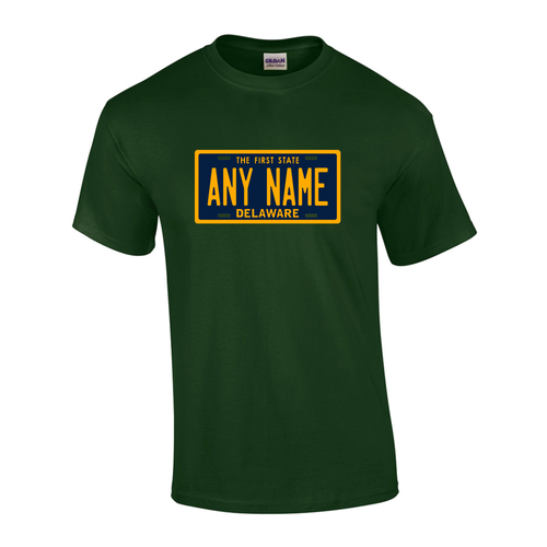 Personalized Delaware License Plate T-shirt Adult and Youth Sizes Version 1