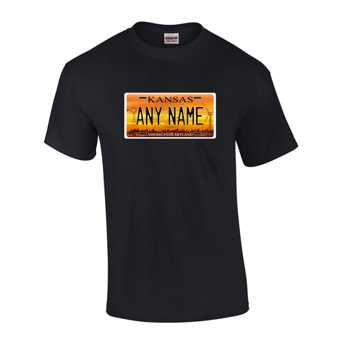Personalized Kansas License Plate T-shirt Adult and Youth Sizes Version 1
