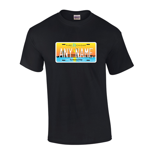 Personalized Michigan License Plate T-shirt Adult and Youth Sizes Version 4
