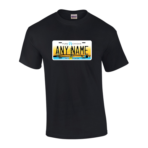 Personalized Michigan License Plate T-shirt Adult and Youth Sizes Version 5