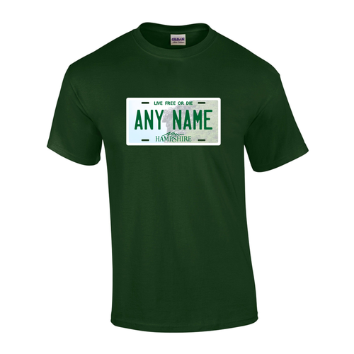 Personalized New Hampshire License Plate T-shirt Adult and Youth Sizes Version 1