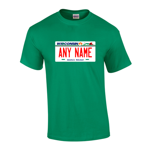 Personalized Wisconsin License Plate T-shirt Adult and Youth Sizes Version 1