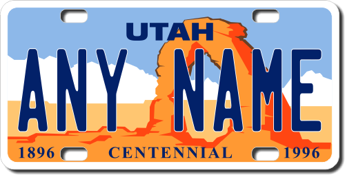 personalized utah license plate for bicycles, kid's bikes, carts