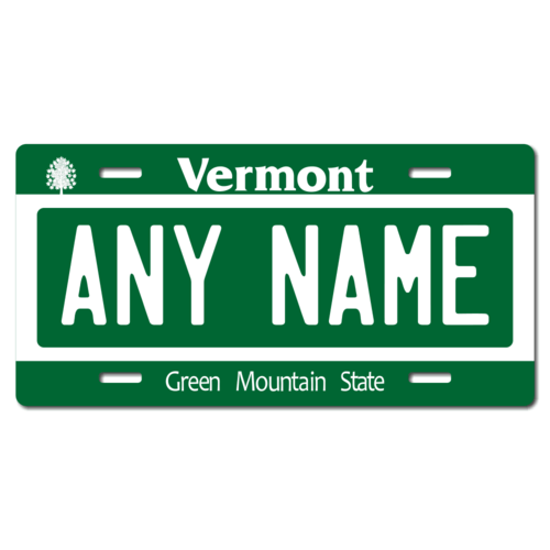 Personalized Vermont License Plate for Bicycles, Kid's Bikes, Carts, Cars or Trucks