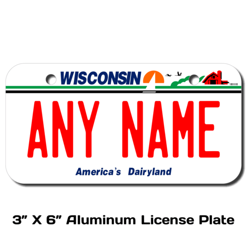 Personalized Wisconsin 3 X 6 License Plate